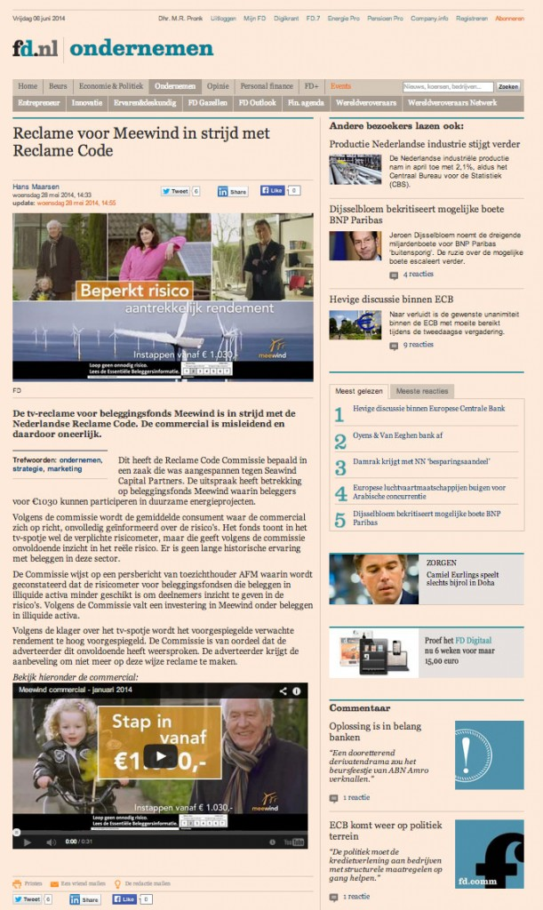 Artikel op FD.nl