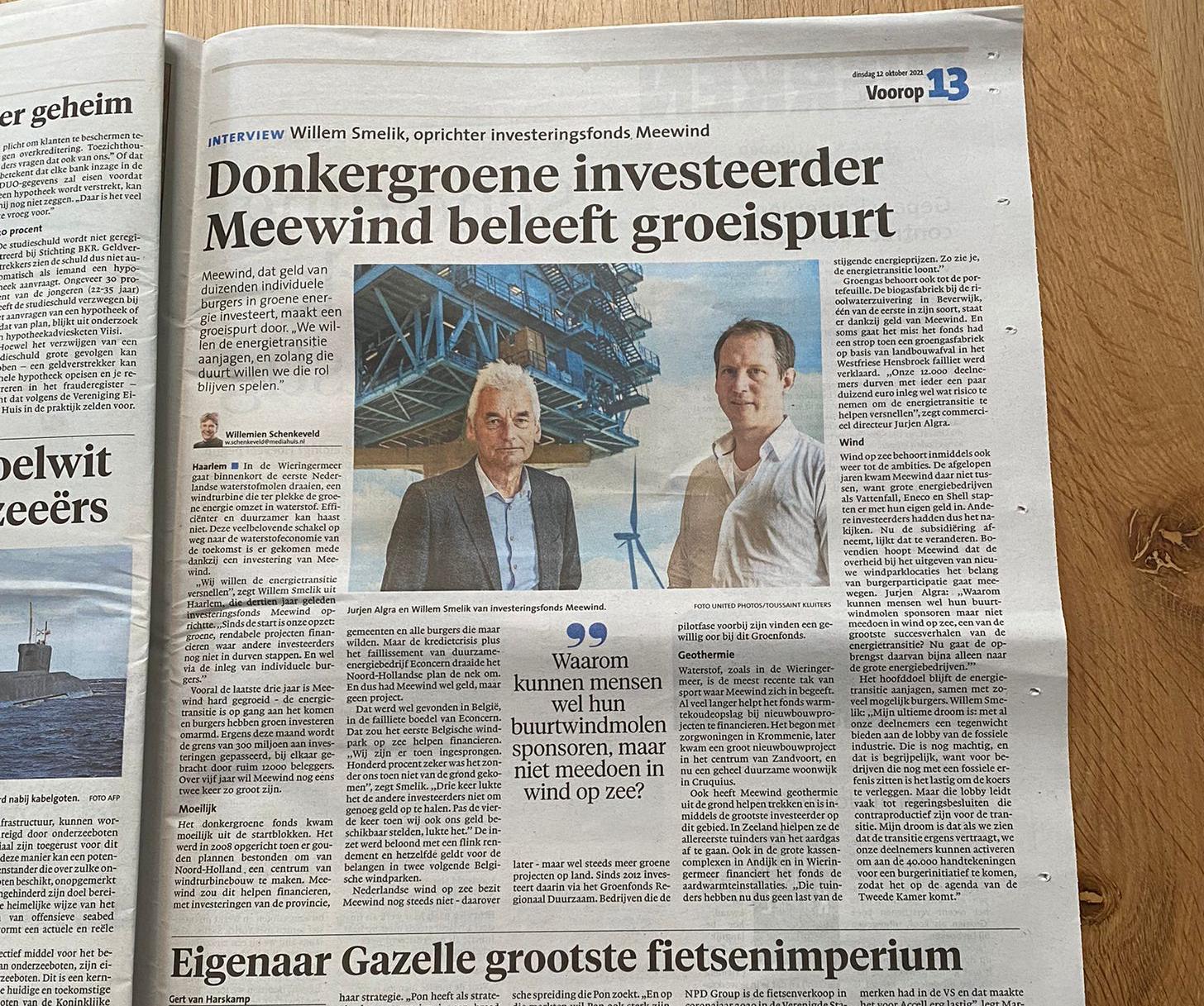 Meewind in het Haarlems Dagblad